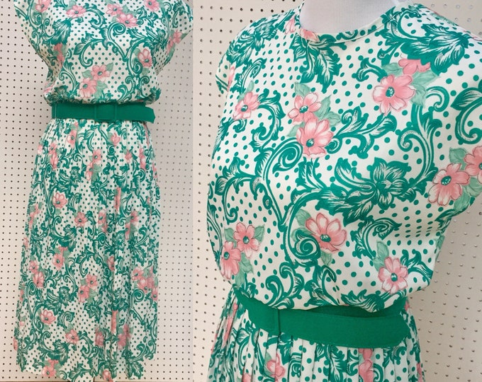 Vintage 1980s Dress, Women's Size 8, Vintage Business Casual Dress, Vintage Belted Dress, Vintage Floral Dress, Retro Professional Dress