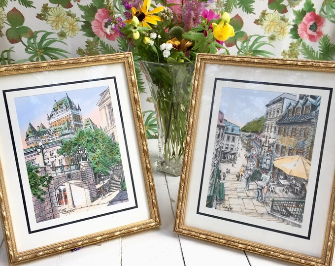 Vintage Paris Drawings, Original Paris Artwork, Vintage Drawings of Paris, Vintage Artwork, Vintage Original Artwork