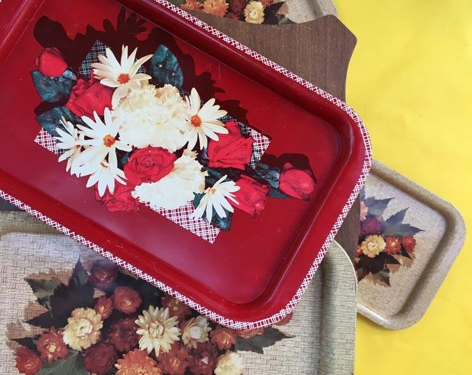 Vintage Retro Serving Trays, Set of Four, Tin Serving Trays, Mid Century Modern Serving Trays, Flower Trays