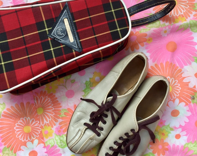 Vintage 1960s AMF Women's Bowling Shoes and Tartan Case, Women's Size 7.5, Vintage Bowling Shoes, Vintage Bowling Shoes Case