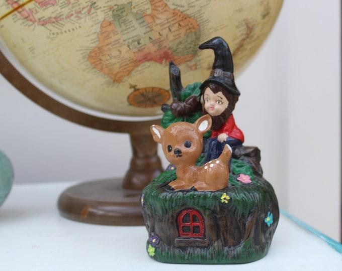 Vintage Elf Figurine, Kitschy Elf Knick Knack, Vintage Woodland Decor, Vintage Music Box, Vintage Children's Music Box, Vintage Fairy Decor