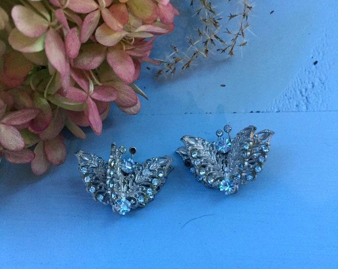 Vintage Butterfly Clip On Earrings, Vintage Butterfly Rhinestone Earrings, Vintage Butterfly Formal Earrings