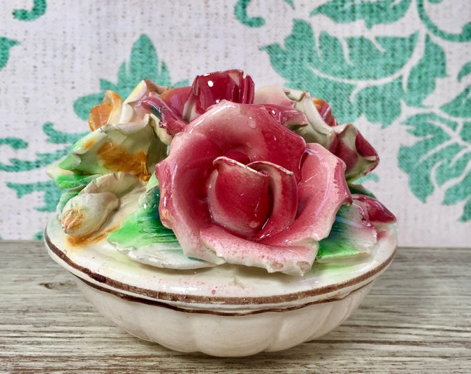 Vintage 1940s Capodimonte Dish, Vanity Display, Red and Yellow Rose Porcelain Candy Dish, Vintage Dish, Italian Porcelain Rose Dish