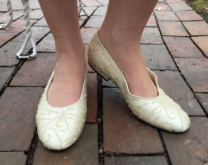 Vintage Caparros Wedding Flats, Women's Size 7, Ivory Ballet Flats, Vintage Bride's Shoes, Vintage Bride's Flats, Women's Wedding Shoes
