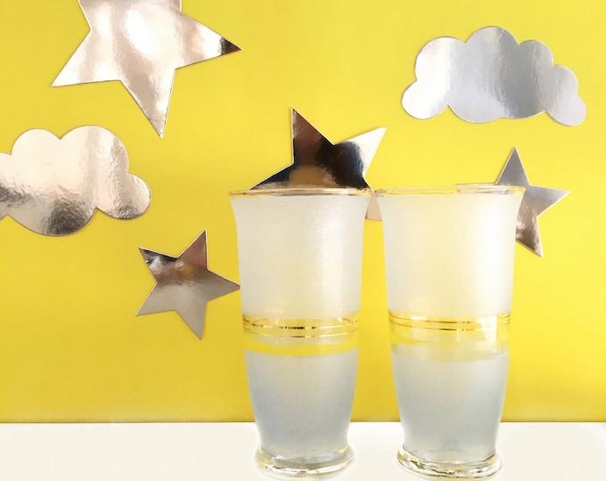 Vintage Mid Century Drinking Glasses, Set of Two, Vintage Frosted Glassware, Vintage Yellow Drinking Glasses, Vintage Frosted Drinking Glass