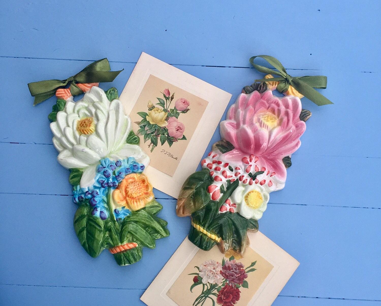 Vintage 1950s Ceramic Flower Wall Hangings Mid Century Floral Ceramic Wall Decor Ceramic Flower Bouquet