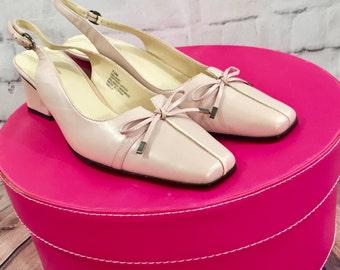 Vintage Liz Baker Pale Pink Leather Slingback Heels, Women's Size 7.5, Vintage Block Heel Pumps with Bow, Pink Heels