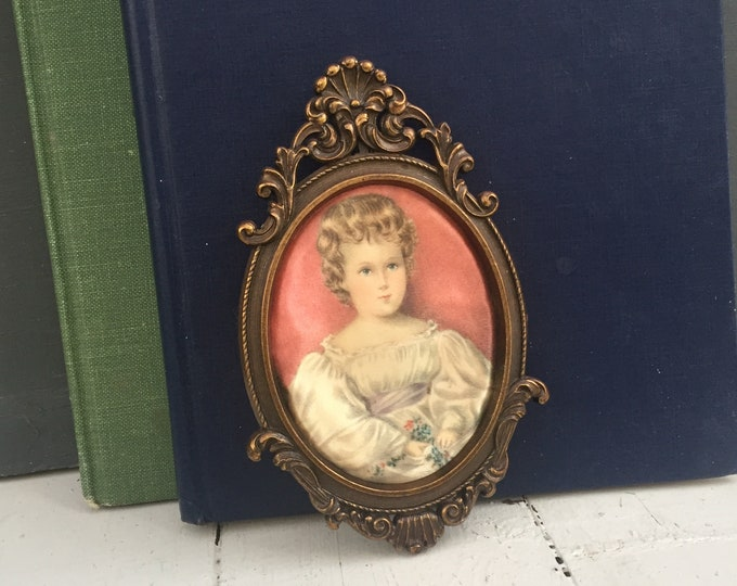 Antique Hand-painted on Satin Cameo Picture in Frame, Vintage Hand-Painted Portrait, Vintage Satin Fabric Painting, Vintage Victorian Cameo