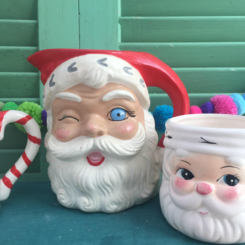 Vintage Santa Mug Collection Set Of Six Vintage Santa Decor Kitschy Christmas Decor Vintage Christmas Mugs