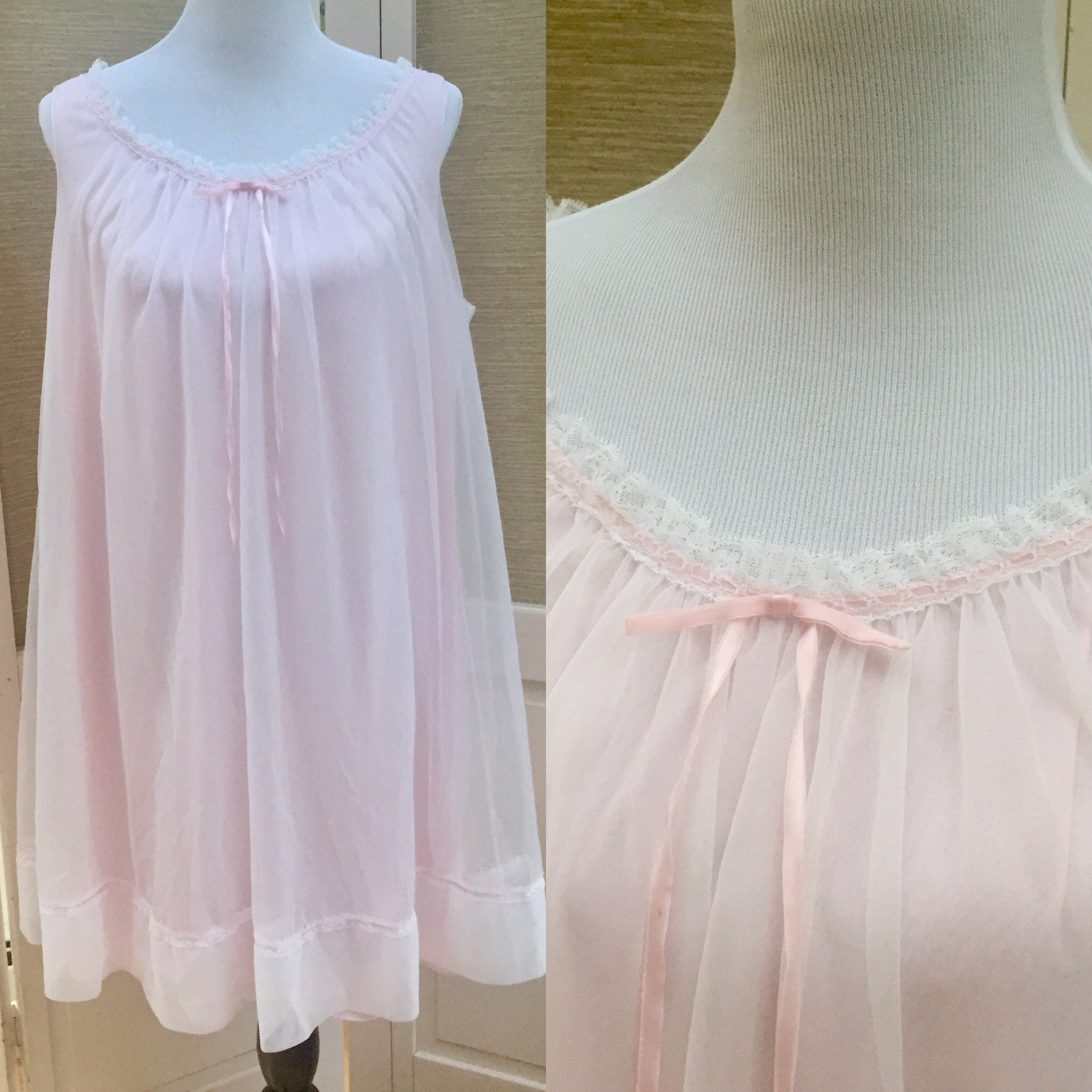 3729a5a318e8 ... 60s Lingerie, Vintage Pink Nightie, Vintage 1960's Nightgown, Women's  Size Large. gallery photo ...