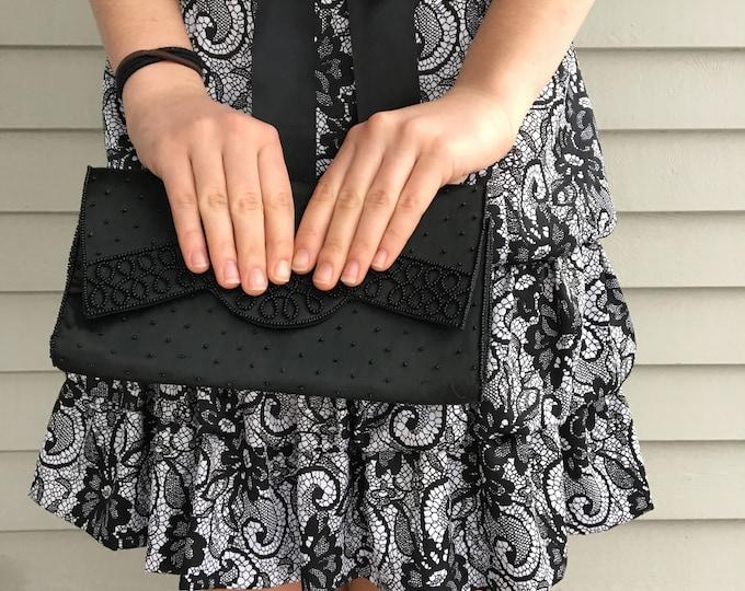 Vintage 1960s LeRegale Clutch Purse, Vintage 1960s Black Clutch, 1960s Dressy Clutch, Vintage Beaded Clutch Purse, 1960s Black Evening Bag