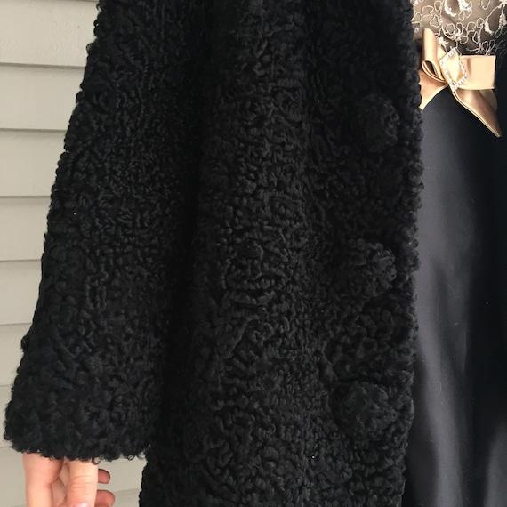1920s Black Lambswool Dress Coat, Women's Size Me… - image 7