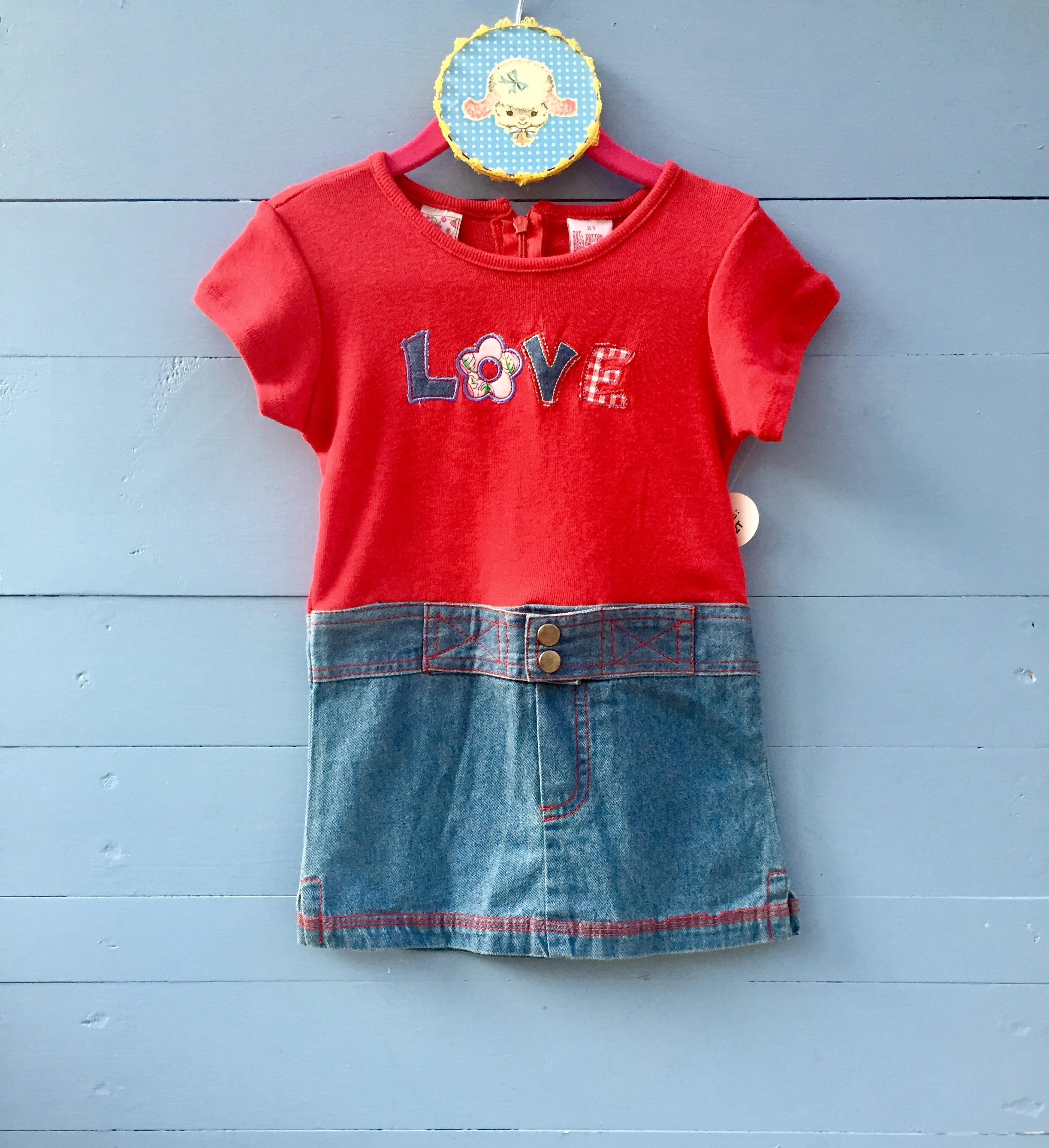 c629ef8773 ... Vintage Red and Blue Toddler Girl Dress. gallery photo ...