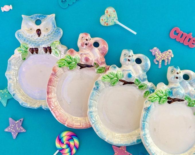 Vintage Kitschy Animal Dish, Mid Century Kitschy Display Trays, Vintage Owl Decor, Vintage Squirrel Decor, Vintage Woodland Animal Decor