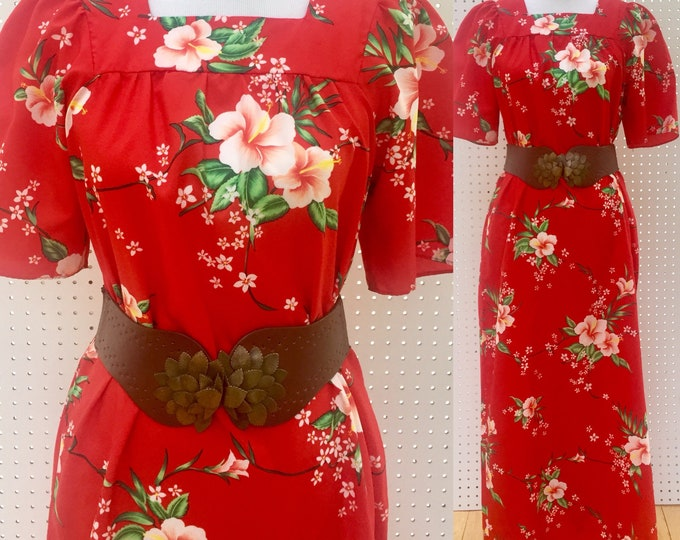 Vintage Hawaiian Maxi Dress, Women's Size Medium, Vintage Hawaiian Dress, Vintage Maxi Dress