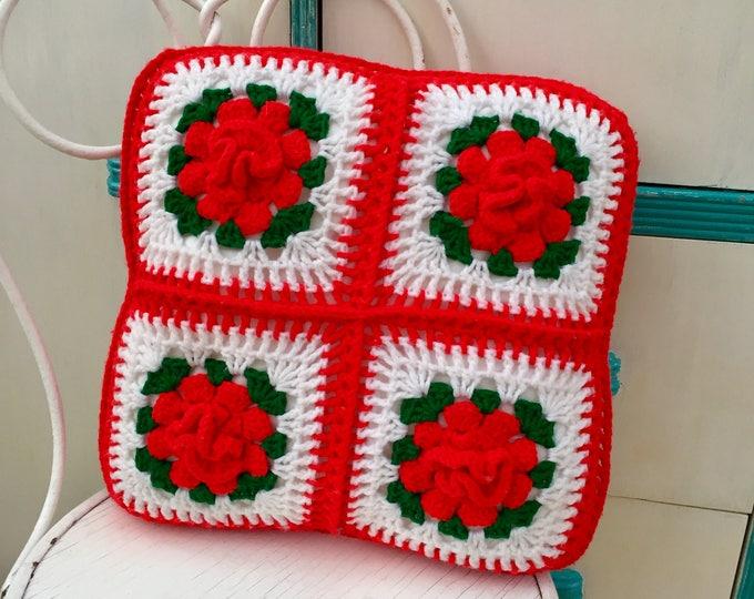 Vintage Afghan Throw Pillow, Vintage Rose Pillow, Vintage Granny Square Pillow, Vintage Bed Pillow, Vintage Decorative Pillow