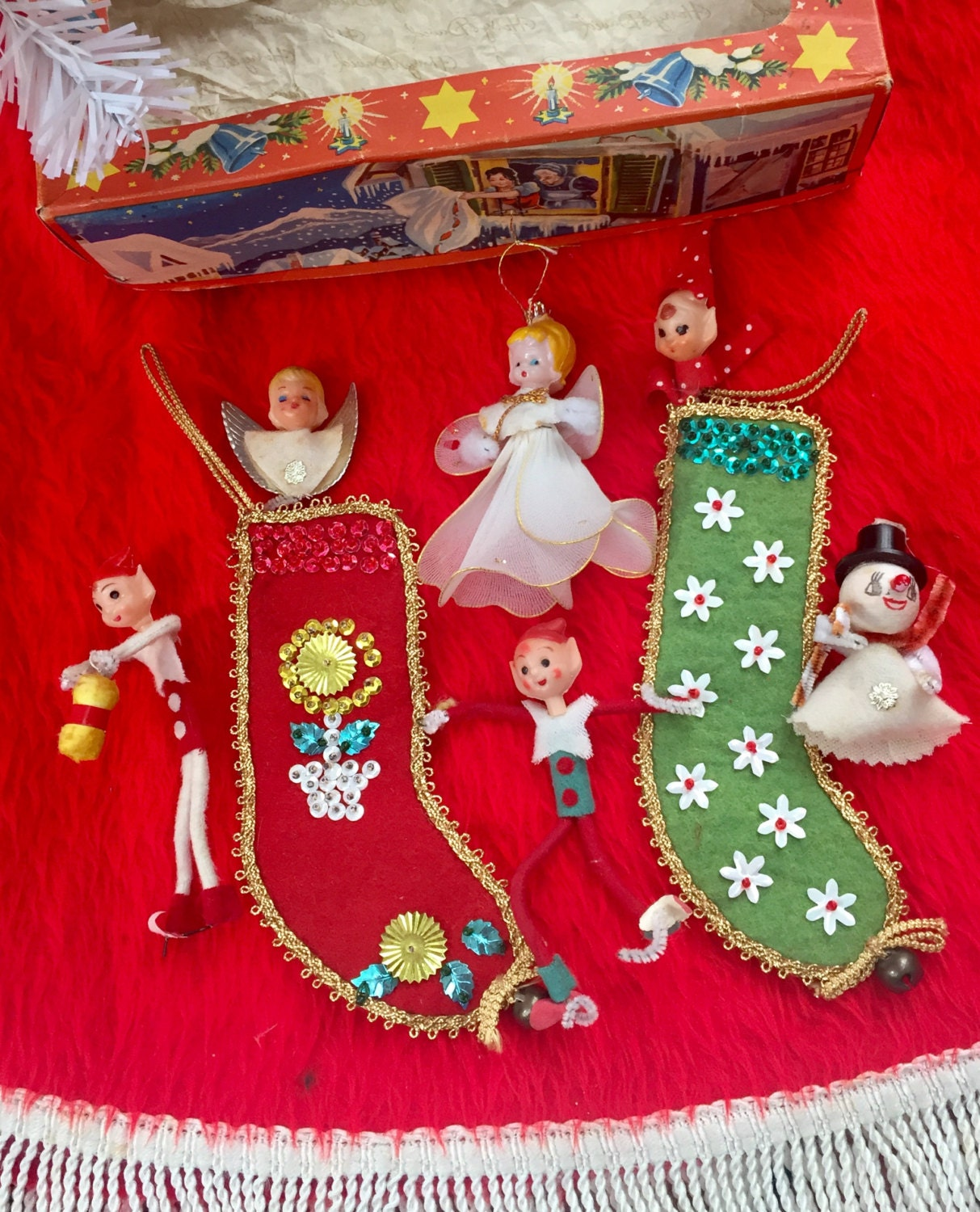 Vintage Kitschy Christmas Ornaments Decor Angels and Elves Set of 6 ...