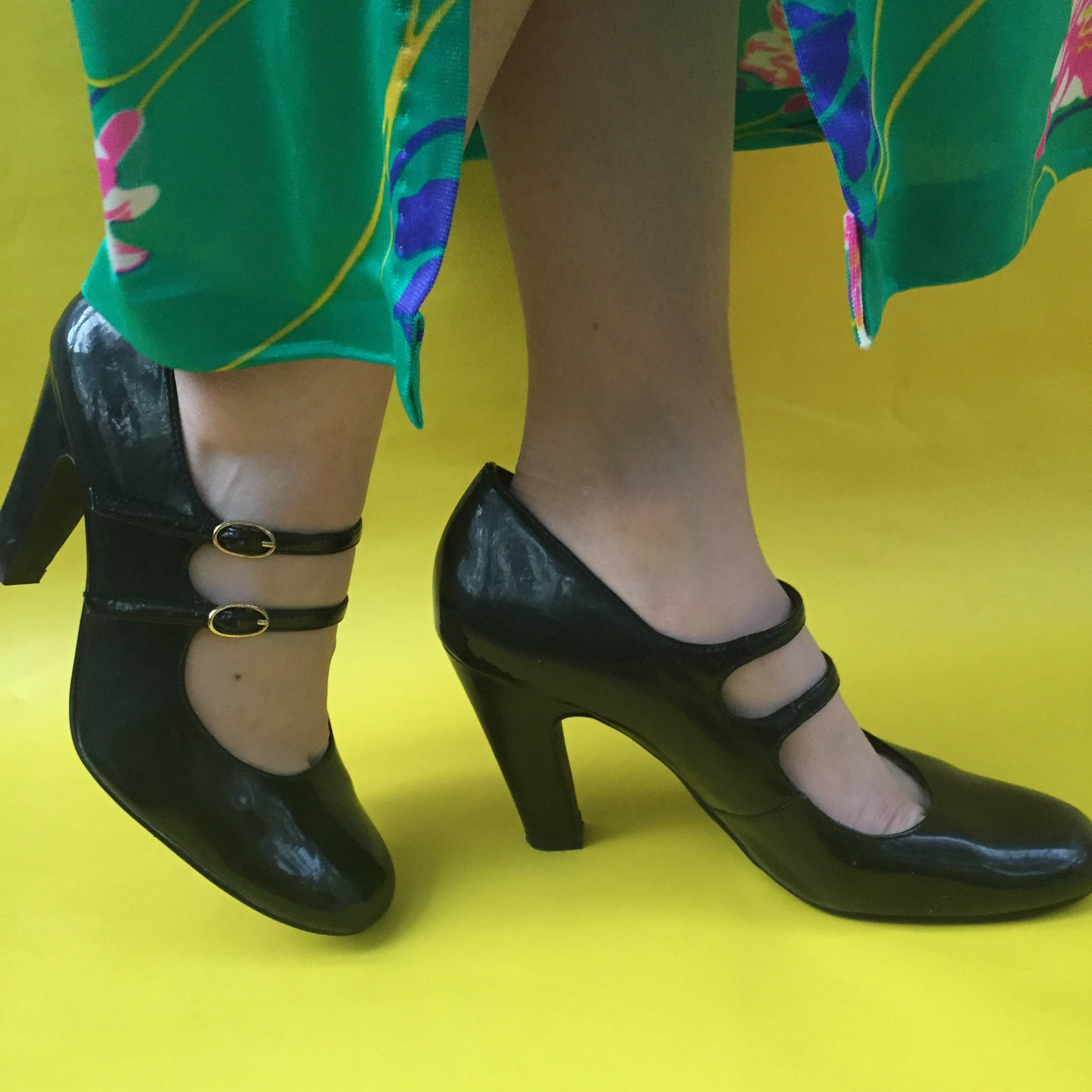 Vintage Black Patent Leather Mary Jane Heels, Womens Size