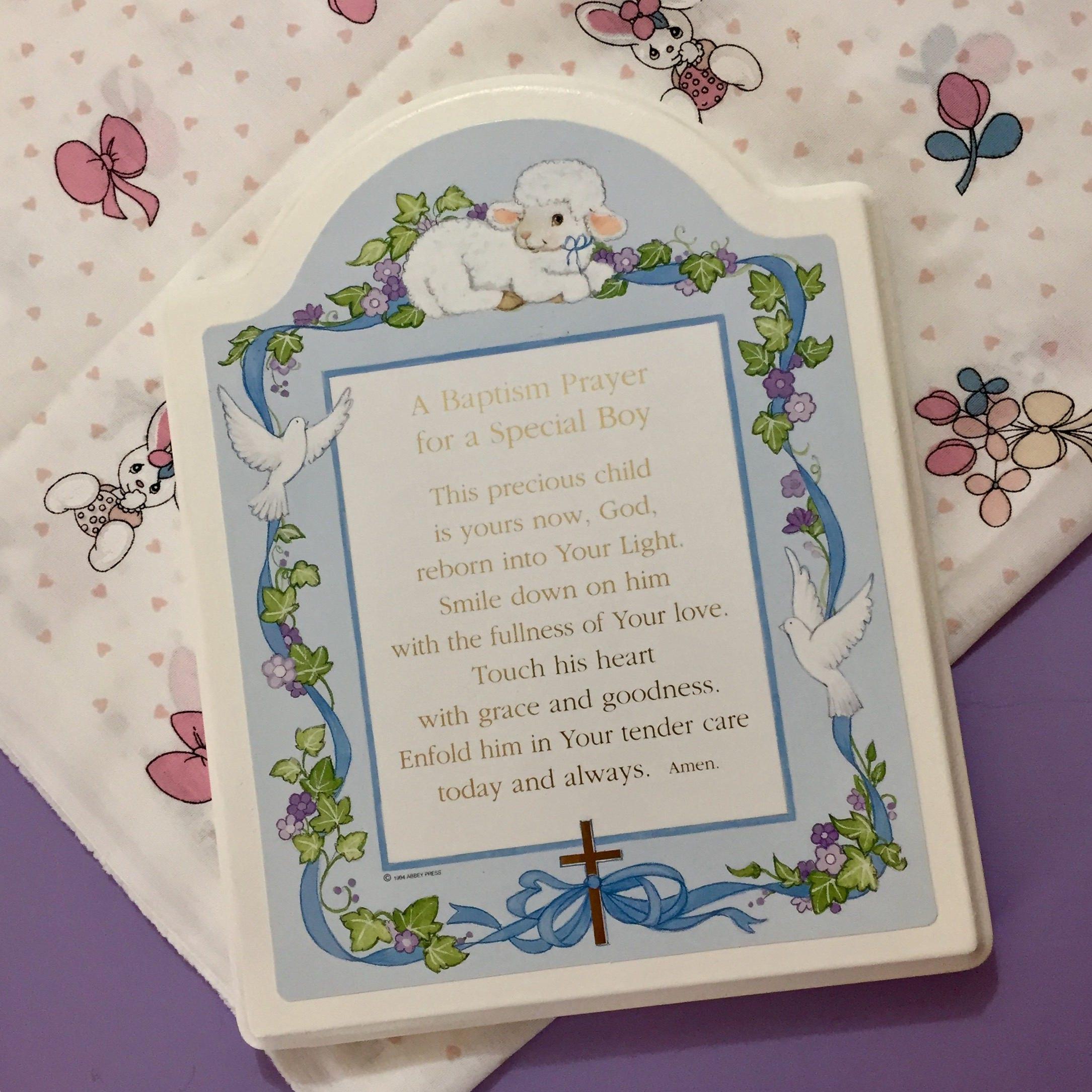 Vintage Little Boy Prayer Plaque Baby Boy Christening Gift Baby