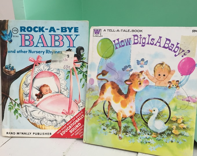 Vintage Mid Century Baby Storybooks, Set of Two, Vintage Children's Books, 1960s Tell A Tale Book, 1950s Start Right Elf Book