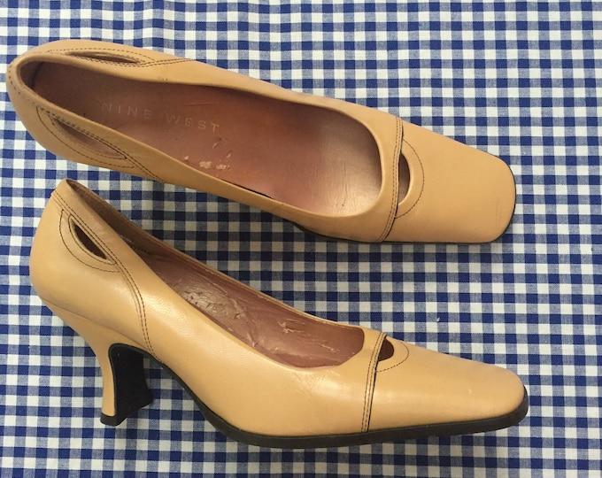 Vintage Nine West Heels, Women's Size 6.5, Vintage Tan Heels, Vintage Pumps