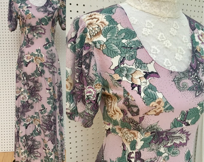 Vintage 1970s Dress, 1970s Maxi Dress, Women's Size Small, Vintage Floral Maxi, Vintage High Neck Dress, Vintage Victorian Dress