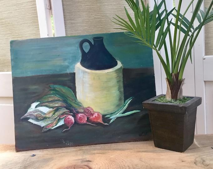 Vintage Original Still Life Painting, Vintage Still Life Painting, Vintage Original Painting, Vintage Kitchen Painting