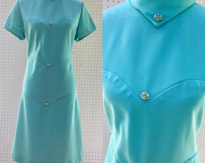 Vintage 1960s Stephen O'Grady Dress, Women's Size 14, 1960s Sheath Dress, 1960s Blue Dress, Vintage Sheath Dress, Mid Century Dress