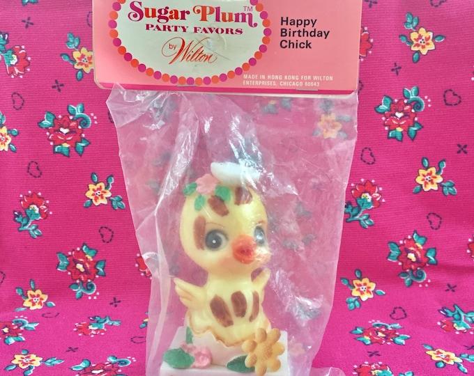 Vintage 1972  NIP Wilton Happy Birthday Cake Topper, Sugar Plum Party Favors Cake Topper, Happy Birthday Chick, Vintage Kitschy Birthday