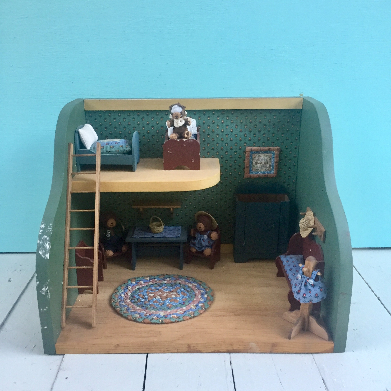Vintage Dollhouse Diorama Vintage Teddy Bear Dollhouse Vintage