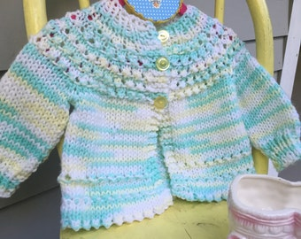 Vintage Hand-Knit Baby Sweater Yellow and Green, Baby Cardigan, Vintage Baby Clothes,  Baby Sweater, Baby Cable-Knit Sweater, Baby Gift