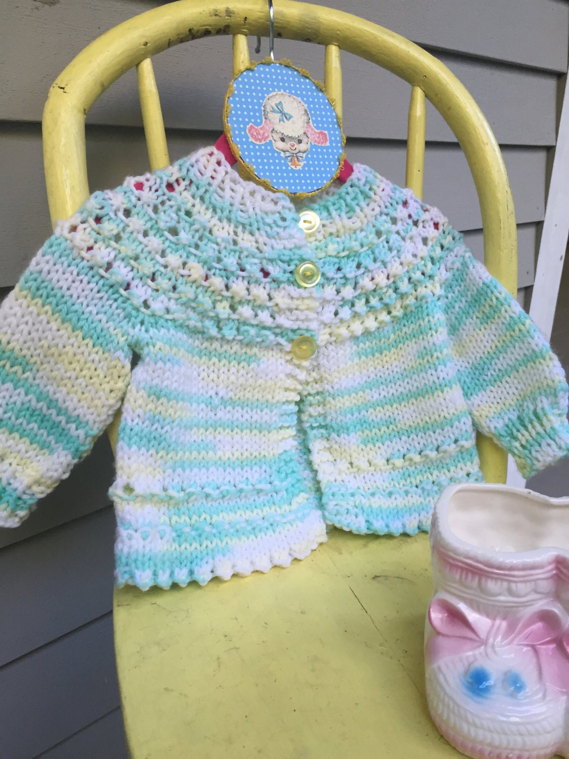 Vintage Hand Knit Baby Sweater Yellow And Green Baby Cardigan