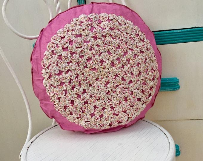 Vintage Mid Century Smocked Pillow, Vintage Pink Smocked Pillow, Vintage Throw Pillow, Vintage Decorative Pillow, Vintage Smocked Pillow