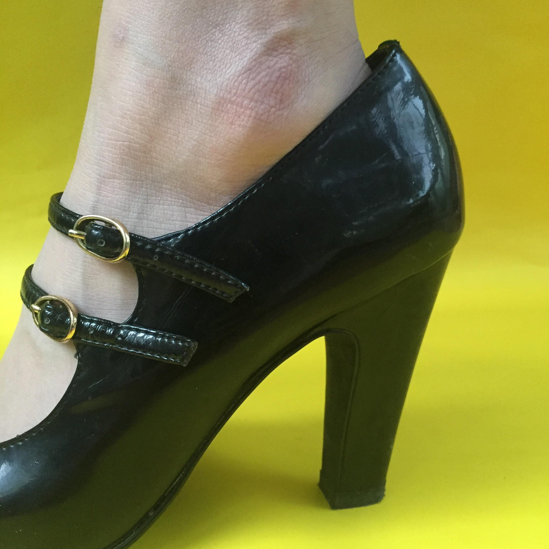 Womens Burgundy Mary Jane Patent Leather Vintage Heels
