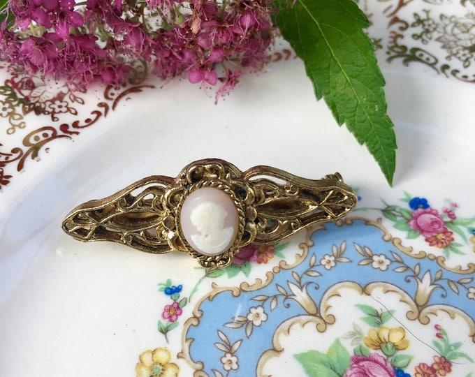 Vintage Cameo Brooch, Mid Century Cameo Pin, Vintage Jewelry Brooch, Art Deco Vintage Pin, Vintage Cameo Pin, Vintage Brooch, Vintage Pin