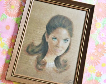 Vintage 1960s Original Portrait Painting, 1960s Mod Girl Painting, Vintage Lady Painting, Framed Original Portrait Painting, Vintage Art