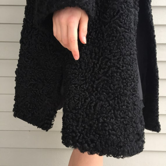1920s Black Lambswool Dress Coat, Women's Size Me… - image 8