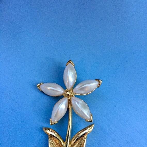 Vintage Flower Brooch, Vintage Pearl Flower Brooc… - image 4
