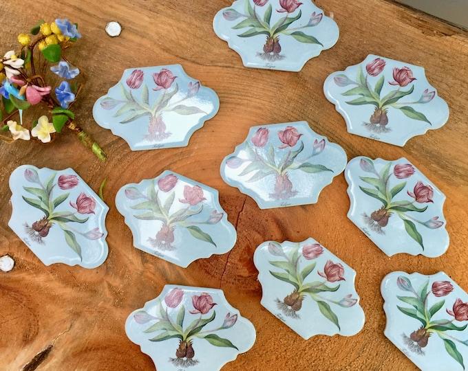 Vintage Set of Decorative Tiles, Floral Decorative Tiles, Set of Ten, Vintage Decorative Tiles, Floral Tiles, Floral Art Tiles, Tulip Tiles