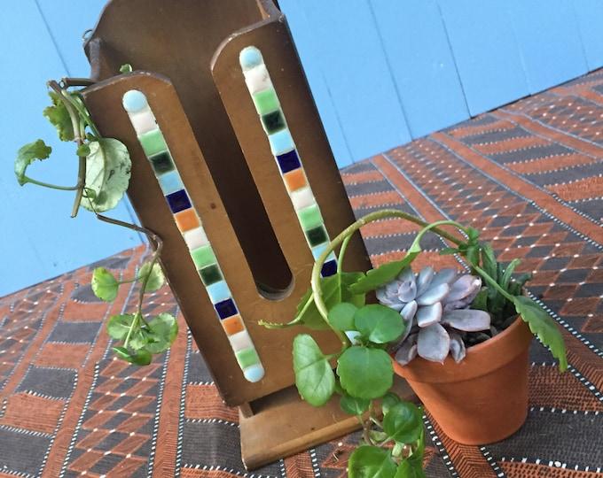 Vintage Letter Holder, Vintage Wooden Mosaic Letter Holder, Boho Chic Office Decor, Boho Chic Home Decor
