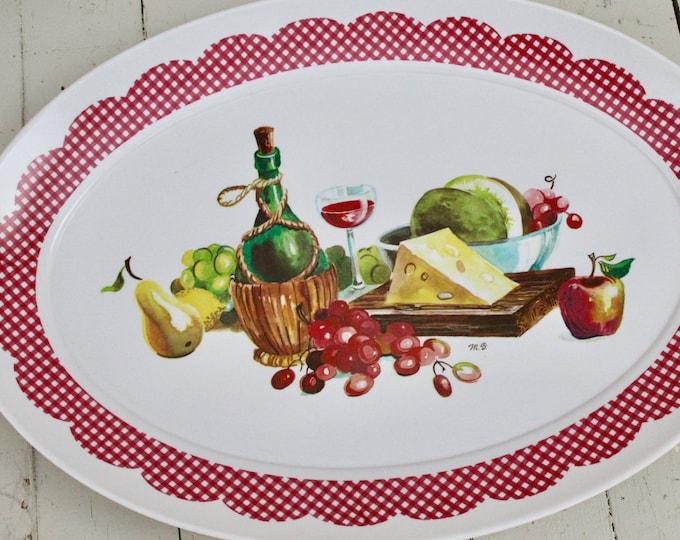 Vintage Brookpark Serving Tray, Vintage Platter, 1960s Kitchen Decor, Vintage Table Decor, Vintage Wine Cheese Tray, Vintage Serving Platter