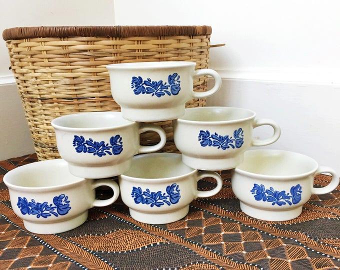 Vintage Pfaltzgraff Yorktowne Coffee Cups, Set of Six, Blue Cornflower Coffee Cups, Blue Stoneware Coffee Cups
