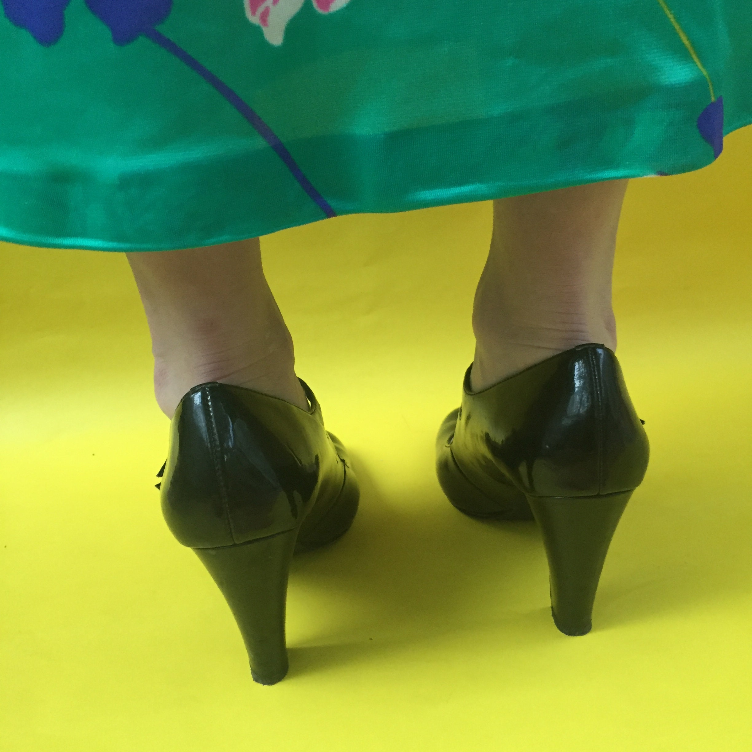 Women Vintage Mary Jane Shoes Lady Patent Leather High