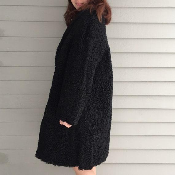 1920s Black Lambswool Dress Coat, Women's Size Me… - image 9
