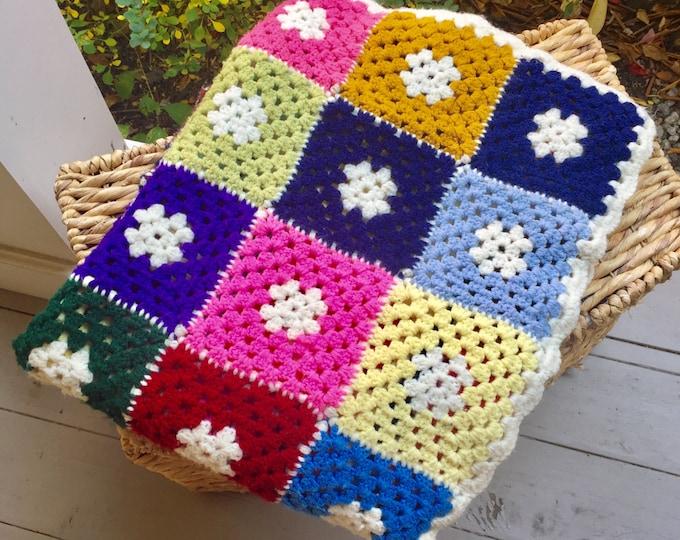 Vintage Granny Square Afghan Crocheted Blanket, Multi Colored Blanket, 60 X 40 Blanket, Display Blanket