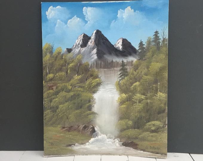 Vintage Original Landscape Painting, Vintage Original Mountain Painting, Vintage Original Waterfall Painting
