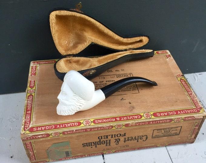 Vintage Turkish Meerschaum Pipe with Case, Vintage Pipe, Vintage Tobacco Pipe, Vintage Smoking Pipe, Vintage Hand-Carved Pipe