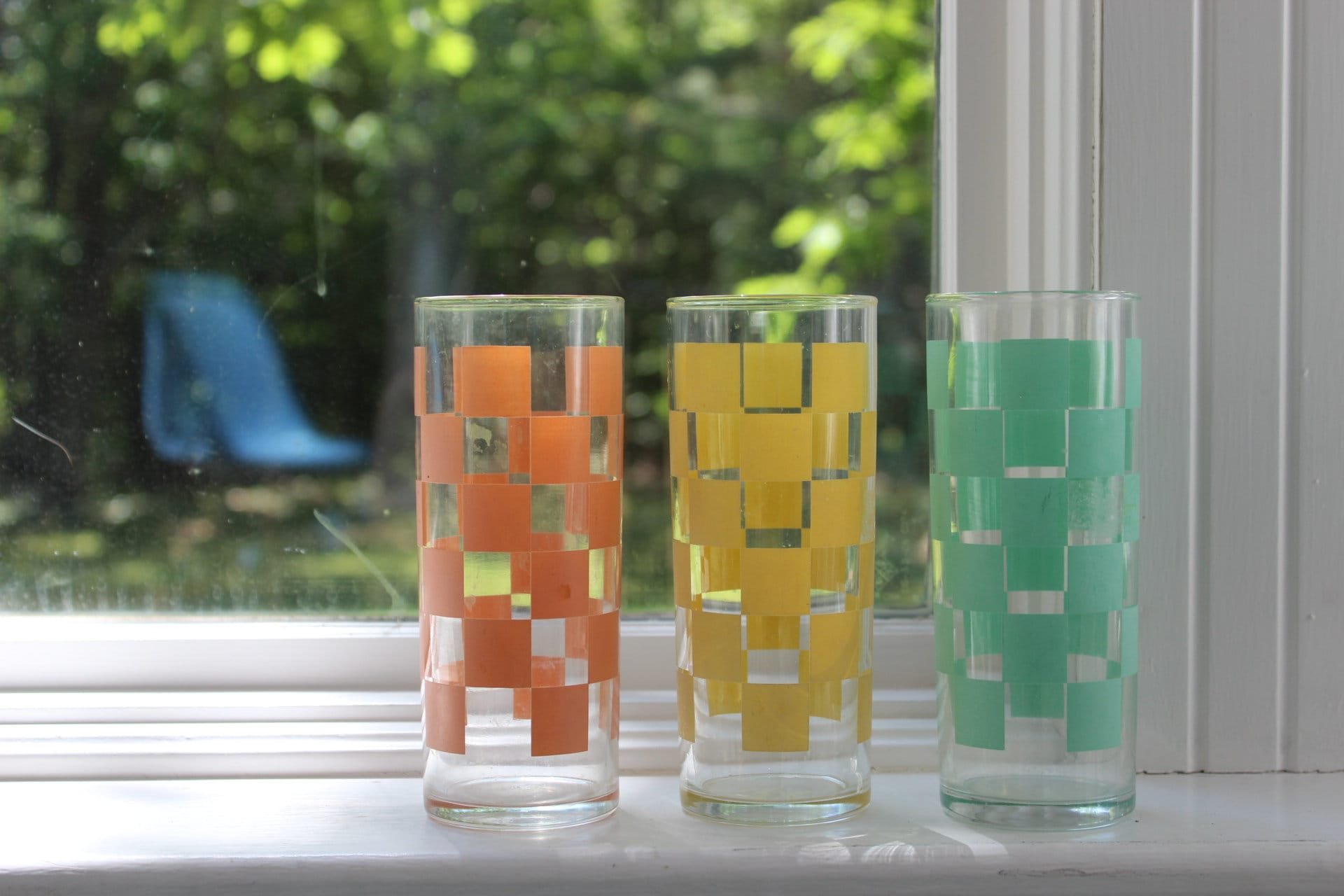 Vintage Drinking Glasses Set Of Three Checkerboard Drinking
