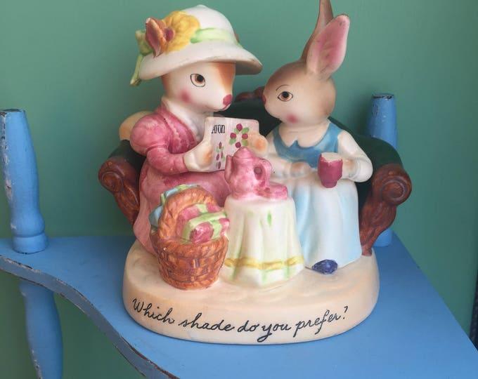 Vintage Avon Precious Moments Rabbit Figurine, Avon Bunny Figurine, Vintage Avon Knick Knack, Vintage Easter Decor