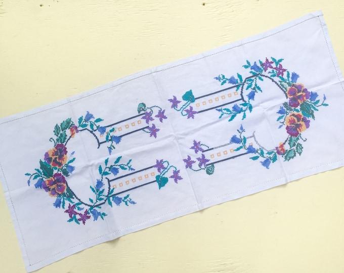 Vintage Cross-Stitch Dresser Runner, Vintage Embroidered Vanity Runner, Vintage Floral Embroidered Linen